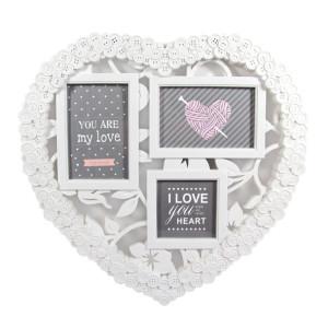 Рамка за 3 снимки Сърце и копчета, подходящ подарък за Свети Валентин, 8-ми Март